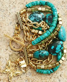 Custom Turquoise and Gold Chain Multi-Strand...