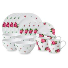Royal Albert 16-Piece Place Setting in New Country Roses White - BedBathandBeyond.com