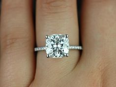 Heidi Grande Size White Gold Cushion FB Moissanite and Diamond Basket Engagement Ring