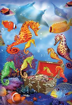 Seahorse Treasure is a 100 piece jigsaw puzzle. Featuring artwork by Steve Sundram. Puzzle measures 13 x when complete. Sunsout puzzles are Eco-friendly soy-based inks Recycled boards. Ocean Mural, Ocean Art, Ocean Life, Seahorse Art, Seahorses, Dolphin Art, Animal Puzzle, Animal Wallpaper, Tropical Fish
