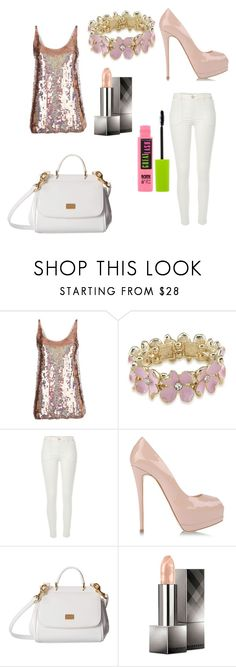 """""""☆A Touch of Glamour☆"""" by fadedlipstick ❤ liked on Polyvore featuring STELLA McCARTNEY, Carolee, River Island, Giuseppe Zanotti, Dolce&Gabbana, Burberry and Maybelline"""