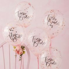 5 Hen Party Team Bride Confetti Balloons, Pink and Rose Gold Balloons, Hen Party Decorations, Bridal Shower Decor, Bachelorette Party Decor Baby Shower Party Deko, Deco Baby Shower, Bridal Shower Party, Party Wedding, Hen Party Decorations, Bachelorette Party Decorations, Bridal Shower Decorations, Team Bride, Hen Party Balloons