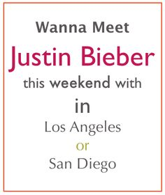 Win a chance to meet Justin Bieber this weekend! < I really am giving away a tickets and a meet and great with the Biebs!