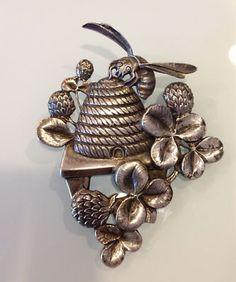 sterling silver bee hive pin
