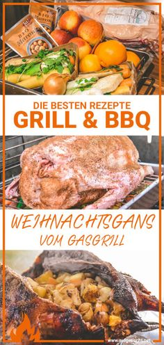 Christmas goose from the gas grill (with red cabbage)-Weihnachtsgans vom Gasgrill (mit Rotkraut) Juicy stuffed Christmas goose from the gas grill goose - Grilling Recipes, Meat Recipes, Red Cabbage, Ground Meat, Pot Roast, Bbq, Food And Drink, Asian, Dishes
