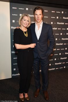 His other leading lady: The Sherlock star posed with his Ophelia, Sian Brooke, after the p...