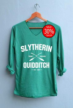 Slytherin Quidditch Shirt Harry Potter Shirts V-Neck Green Unisex Adult Size S M…