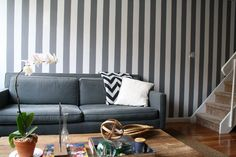 gray striped walls in my living room, yes/no? Grey Striped Wallpaper, Grey Striped Walls, Striped Nursery, Grey Walls, Grey Stripes, Accent Walls, Mindful Gray, Paint Stripes, Wall Stripes