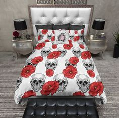 Red Poppy and White Skull Duvet Bedding Sets Pillow Shams, Throw Pillow Covers, Duvet Covers, Throw Pillows, Euro Shams, Pillow Cases, Duvet Bedding Sets, Comforters, Soft Blankets