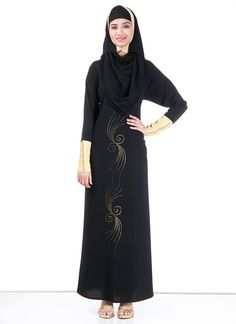 Beautiful Black #Polyester #Abaya