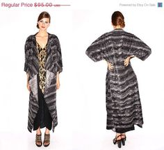 HOLIDAY SALE Shades of Gray- faux Fur Supermodel Maxi length Handmade Kimono Coat on Etsy, £47.59