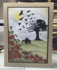 Love Is In The Air. Anniversary card made with Clarity stamps - Poppies and Wee Folk.
