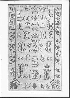 Cross stitch monograms, ornaments and borders, some with Art Nouveau influences.   (visit site for bigger picture)   Gracieuse. Geïllustreerde Aglaja, 1906, aflevering 17, pagina 203