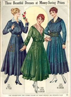 *From Pictorial Review's 1916 line.   Interesting how fashion went from pencil-thin to full and blousy in just three years.