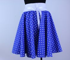 Blue skirt, full skirt, skater skirt, polka dot skirt, circle skirt, pinup skirt, women skirt, elastic waist skirt, retro skirt, midi skirt by ElzahDesign on Etsy
