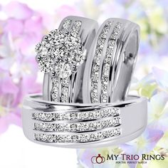 With diamond rows that veer off from the band in a diagonal direction, this collection is perfect for the couple who does things a little differently. The trio wedding ring set includes his and hers wedding rings and an engagement ring with a total of 78 conflict free diamonds between them. Each piece has a 14K white gold setting.