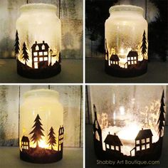 Get the free template and quick and easy tutorial for making the Christmas Township Candle Jar by Shabby Art Boutique. Looks amazing when illuminated at night. Use tealight candles, battery operated candles orbattery operated bud lights. Christmas Town, Christmas Lanterns, Christmas Mason Jars, Christmas Decorations, Nordic Christmas, Christmas Trees, Jar Lanterns, Merry Christmas, Wine Bottle Crafts
