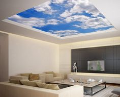 In de wolken Ceiling STICKER MURAL sky clouds cupola dome airly air decole poster Blue Clouds, Sky And Clouds, Ceiling Murals, Wall Murals, Cloud Ceiling, Wallpaper Ceiling, Cloud Wallpaper, Ceiling Ideas, Dome Ceiling