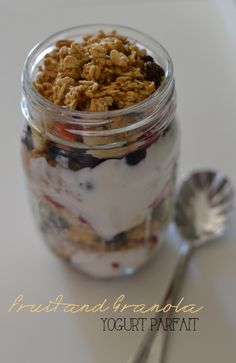 fruit and yogurt parfait.  healthy breakfast.