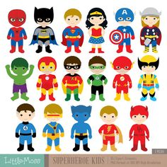 17 Superheroes Characters Digital Clipart, Superhero Clipart, Superhero Boys, Superman Clipart, Batman Clipart, Spiderman Clipart