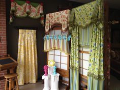 #windowtreatments  Cheery colored window treatments in our showroom www.LadyDiannes.com
