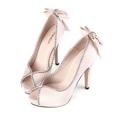 Peep Toe Bow Light Pink Platform Wedding Pump Shoes
