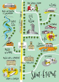 Philippe Doro : Plan illustré de la ville de Saint-Etienne Dessin pour Atout France. Maps Design, Lyon France, Future Travel, Learn French, Loire, French Language, France Travel, Travel Ideas, Cities