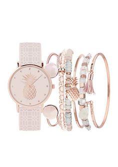 American Exchange Women's Pineapple Watch and Bracelet Set