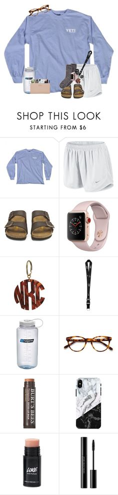 """""""had to drive 2 hours to pick up my sister"""" by mallorykennerly ❤ liked on Polyvore featuring NIKE, Birkenstock, Apple, Nalgene, EyeBuyDirect.com, Burt's Bees, shu uemura and Kate Spade"""