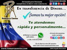 Somos tu mejor opción.  #RomarcaEnvios #TransferenciaDeDinero #Venezolanos #VenezolanosEnElMundo
