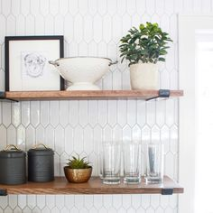 Flipping Homes and transforming them one at a time. Open Shelves, Floating Shelves, Flipping Homes, Fixer Upper House, Geometric Tiles, Shelfie, Kitchen, Home Decor, Open Shelving
