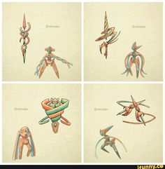Deoxys: Twinspear, Deoxys attack: Balde, Deoxys defense: Shield, Deoxys speed: Daggers