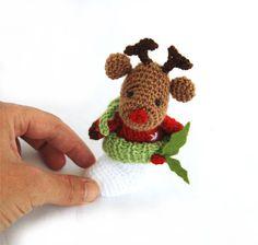 $32.00 crochet reindeer in christmas stocking, tiny #amigurumi #reindeer, hanging #christmasdecor, handmade gift by crochAndi