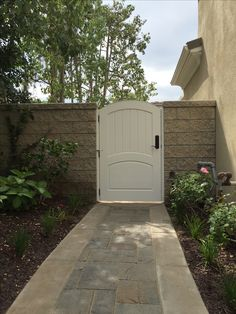 Custom Wood Gate with Raised Panel and Arched Crossbar by Garden Passages Wood Gates, Raised Panel, Craftsman Style, Custom Wood, Fencing, Front Doors, Patio Ideas, Cottage Style, Paths