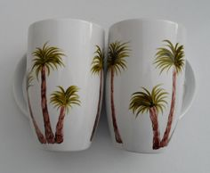 Palm Tree Cups Hand Painted Palm Trees Mugs by LisasPaintedCrafts