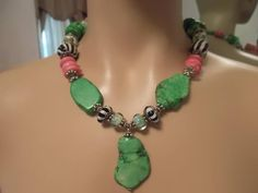 Gorgeous Green, Pink and Zebra Beaded Necklace Cowgirl Jewelry, Chokers, Beaded Necklace, Green, Pink, Fashion, Beaded Collar, Moda, Pearl Necklace