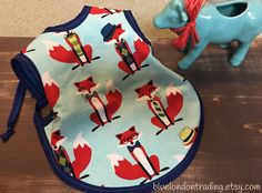 """Fox Baby Bib/Apron """"Bapron"""" / 6-18 Months / Feeding & Drool Bib / Quilting Cotton with Soft Fleece Backing / Keep Clothes Dry / Fox Pattern by BlueLondonTrading on Etsy"""