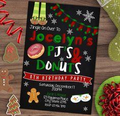 Christmas Pajama Party Invitation Xmas PJ's by RainyZebraDesigns Christmas Pajama Party, Christmas Birthday Party, Christmas Pajamas, Family Christmas, Winter Birthday, Christmas Tables, Nordic Christmas, Etsy Christmas, Christmas Parties