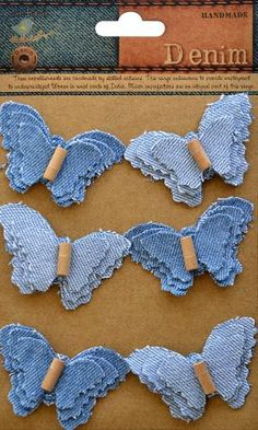 Little Birdie Crafts - Denim Collection - Beaded Butterflies