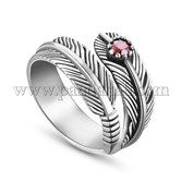 SWEETIEE® Antique Feather 925 Sterling Silver Cuff RingsJR149A