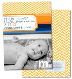 modern birth announcements, nautical, new baby, boy baby announcements, Party Box Design