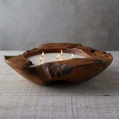 Hand-poured in a reclaimed teak vessel, this large-scale citronella candle is the perfect patio accessory for summer evenings.- Soy wax, citronella, t Outdoor Candles, Rustic Candles, Modern Candles, Rustic Napkins, Rustic Napkin Holders, Wood Candle Holders, Teak, Patio Accessories, Citronella Candles