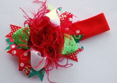 boutique CHRISTMAS DOTS over the top mini hair bow with by andjane