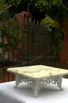 "Vintage, 18"" square Victorian iron cake plateau with extra thick Carrara marble top."