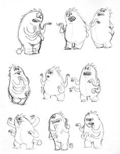 Character model & expression sheets for Pixar's Monster's Inc. Artwork by Victor Navone.