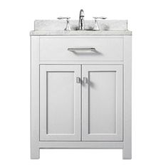 Water Creation Madison 24 in. Vanity in Modern White with Marble Vanity Top in Carrara White-MADISON24W at The Home Depot