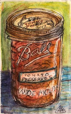 """""""Tomato Preserves"""" - 3 1/2"""" W X 5 1/2"""" H - Watercolor & M/M on Sketch Paper. - #art #watercolor #canning #tomatopreserves #m/m #arthub #artdare #mcaartsngraphicstudio #mcaartsngraphicsstudio Sale Artwork, Daily Painting, Small Canvas, Watercolor, Canvas, Painting, Art Hub, Art, Sketch Paper"""
