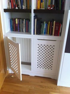 """researching the built in for the """"project room"""" — THE PLACE HOME - Fotografie Built In Shelves Living Room, Built In Bookcase, Living Tv, Muebles Living, Radiator Cover, Room Setup, Built Ins, Living Room Decor, Family Room"""