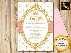 Spanish Princess Baby Shower Invitation White Pink And