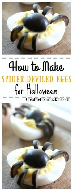 These spider deviled eggs are really easy and fun to make for Halloween. These spider deviled eggs are really easy and fun to make for Halloween. Halloween Party Appetizers, Halloween Food For Party, Halloween Treats, Halloween Dinner, Halloween Desserts, Halloween Birthday, Halloween House, Halloween 2019, Halloween Diy